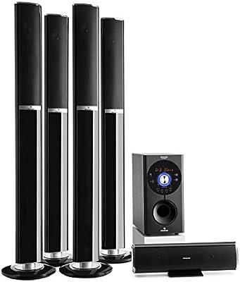 auna Areal 652 653 Sistema de sonido 5.1 Bluetooth (145W potencia RMS, altavoces home cinema, aux, subwoofer, USB, CD, karaoke, diseño cromado)