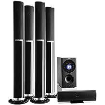 auna Areal 652 Sistema de sonido 5.1 Bluetooth (145W potencia RMS, altavoces home cinema, aux, subwoofer, USB, CD, karaoke, diseño cromado)