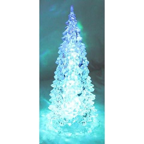 Weihnachtsbaum aus Acryl beleuchtet mit Farbwechsel (23,5 cm hoch, batteriebetrieben)