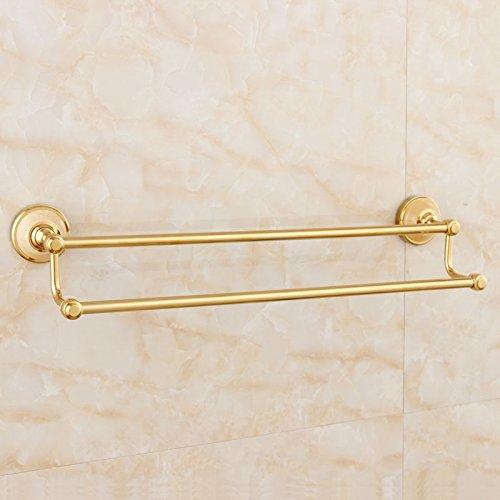 LHbox Tap Alle Kupfer natürliche Jade Handtuchhalter antike Badezimmer Kit Gold Double Bar Handtuch, Licht Luxus Wong Yuk - Antiken Gold-licht-kit