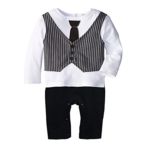 DINGANG® Neugeboren Baby Jungen Gentleman Anzug Krawatte Spielanzug Overall Kleidung Kleider
