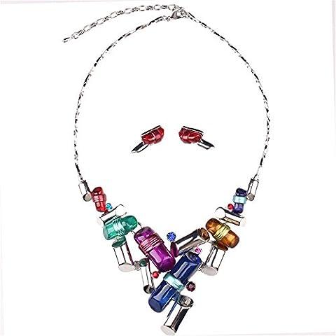 Girl Era moderno moda Rueda Arte de aleación de resina babero collar con colgante y pendientes