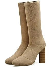 Stiefel über die Knie mit Blockabsatz und Schnürsenkel APRICOT BLACK