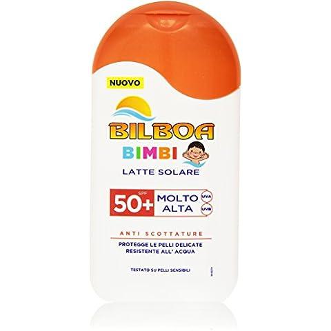 Bilboa - Latte Solare Bimbi, Anti Scottature, resistente all'Aqua, 50+