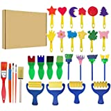 Toyvian Painting Sponge Brushes Eva Set Creative Stamp DIY Art Painting Brush Tools For Kids Children Drawing 29pcs (Random Color)