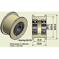 Pack de 4 x Cinturón de nylon 35 mm de diámetro 16 mm Groove 8 mm rodamientos de precisión mecanizado en la UE (35-16-8)