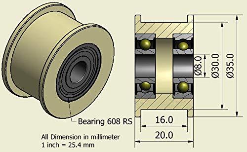 4Stück x Nylon Gürtel Faulenzer 35mm Durchmesser 16mm Groove 8mm Lager Präzise gefräßt in der EU (35–16–8)
