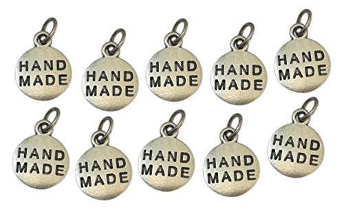 Handmade, Etiquetas Metal chapeada Plata. 10 Charms