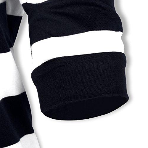 Damen Gestreift Hoodie Reißverschluss Langärmelige Kapuzenpullover Sweatshirt Schwarz+Weiß