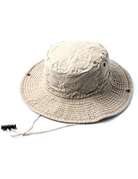 Accessoryo - le denim beige sentir safari / seau chapeau avec bascule de réglage