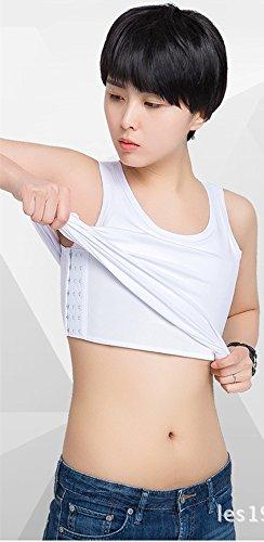 BaronHong Donna omosessuale bello -T maschiaccio corsetto, lungo cotone vest, può essere indossato al di fuori bianca