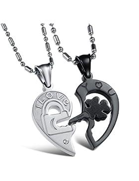 Jewow Schmuck Edelstahl Verliebte Paar Halskette Heartbreaker Anhänger mit Gravur für Sie und Ihn