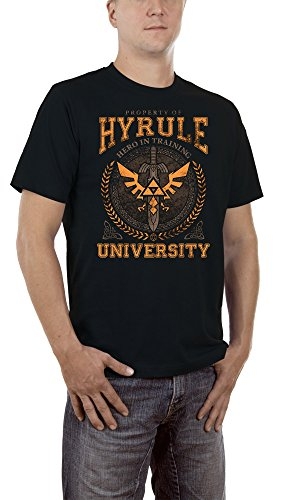 Touchlines Herren T-Shirt Hyrule University, Gr. Medium, Schwarz (Black (Billig University Halloween Kostüme)