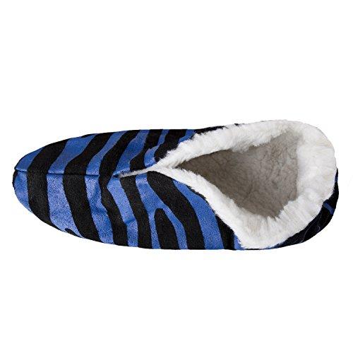 BRUBAKER Damen oder Herren Anti-Rutsch Hausschuhe Echt Leder gefüttert Zebra ABS Gr. 35 - 47 Blau / Schwarz