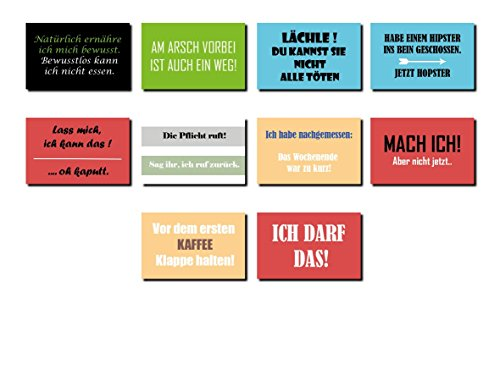AS Office Art - 10 Magnete für Kühlschrank mit lustigen Sprüchen 80 x 50 mm | MS-02 | Kühlschrankmagnet | Deko | Geschenk | Spruch Witzig | Cool | Geschenkidee | Für Kühlschrank und Whiteboards