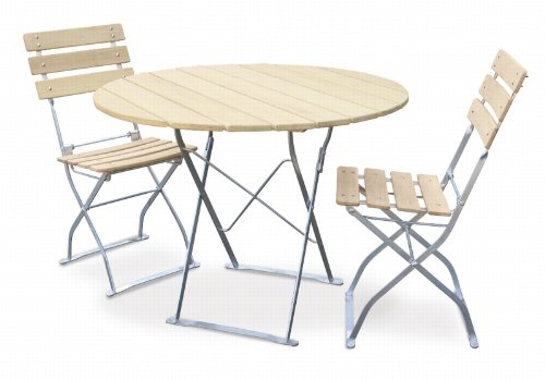 EuroLiving Bière de jardin 1 x table Ø90 cm & 2 X Chaise Edition/naturel Naturel/galvanisé