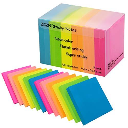 Zczn 6Bright color notes Sticky notes,3in x 3in confezione da 12pastiglie/100fogli/Pad Sticky questione è migliorato Confezione da 12