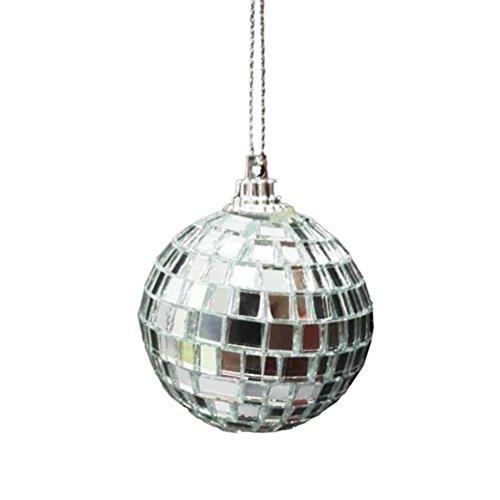 Amosfun Discokugel Spiegelkugel 10cm Mirrorball Weihnachtskugeln Ornamente Glitzer Weihnachtsdeko (Silber) -