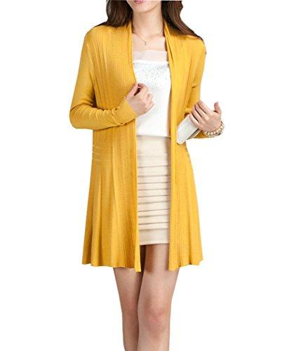 pqdaysun Damen Strickjacke Gr. One size, gelb (Lightweight Open-front Cardigan)