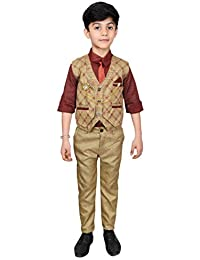 Ahhaaaa Kids Ethnic Wear Boys Waistcoat Shirt Tie and Pant Set