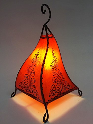 Orientalische Tischlampe Rahaf 35cm Lederlampe Hennalampe Lampe | Marokkanische kleine Tischlampen aus Metall, Lampenschirm aus Leder | Orientalische Dekoration aus Marokko, Farbe Orange (Deckenfluter Ist Fertig)