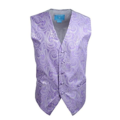 EGC1B01A-3XL Medium Purple Paisley Excellent Family Waistcoat Woven Microfiber Handmade Family XXX-Large Vest By