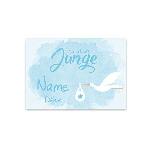 Striefchen® Banner zur Geburt eines Jungen - Klapperstorch - mit Namen des Kindes 50x70 cm Posterpapier (Willkommen Zu Hause Baby-jungen-banner)