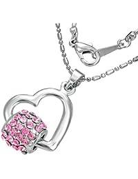 Mode Kristall Spinnrohr offen Liebe Herz Charm Halskette mit Schmucksteinen – Rosa