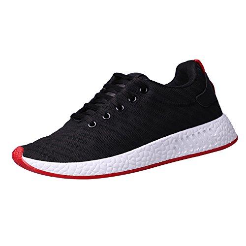 QIMAOO Eté Basket Sneakers pour Homme, Respirant Chaussures de Sports pour Fitness Jogging Course(Noir,EU 42)
