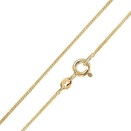 MATERIA Schmuck 925 Silber Panzerkette vergoldet 1mm - Damen Halskette gold in 40 45 50 60 70 cm #K69, Länge Halskette:45 cm