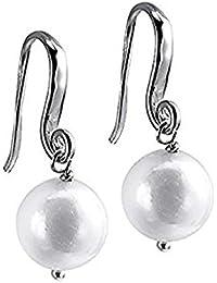 Pendientes Plata Duran Exquse La Rochella Rodio tipo gancho y perla redonda 00504664