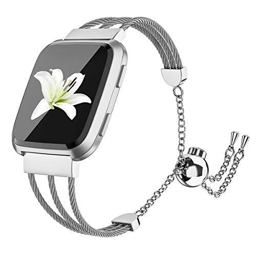 Wearlizer für Fitbit Versa Armband, Kette Edelstahl Ersatband Armbänder Sport Band für Fitbit Versa Special Edition Klein Groß - Silber