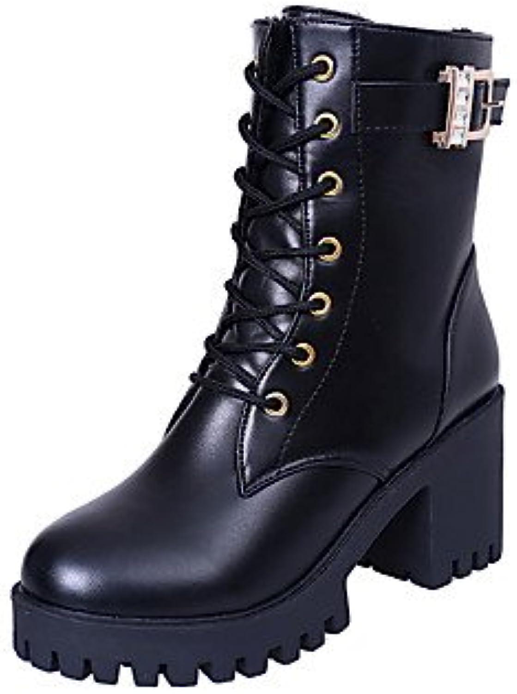 SHAOYE Mujer Botas Confort Otoño Invierno PU Casual Con Cordón Tacón Robusto Negro Borgoña 2'5 - 4'5 cms , us8.5...