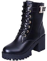 SHAOYE Mujer Botas Confort Otoño Invierno PU Casual Con Cordón Tacón Robusto Negro Borgoña 2'5 - 4'5 cms , us7.5...