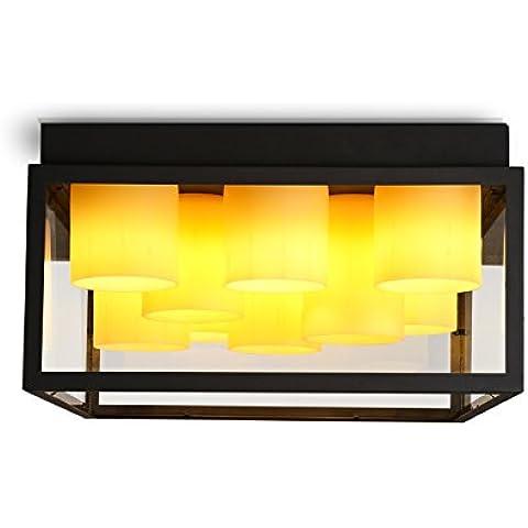 N.DFB Ferro quadrata candela scatola di vetro industriale americano personalità vento luce da soffitto camera da letto soggiorno luce da soffitto, 72000+ore ledHuang