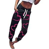 Hongxin Mujer Pantalones Ocio Amor Impresión Pantalones Deportiva Pequeña Pie Pantalones Bolsillo Mid Cintura Pantalones con Cordones