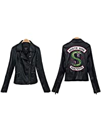 StMandy Chaqueta Riverdale Chaqueta de Serpientes roja para niñas Chaqueta de Motociclista Southside Black Leather Jacket-3