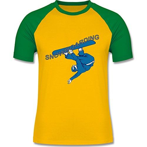 Wintersport - Snowboarding - zweifarbiges Baseballshirt für Männer Gelb/Grün