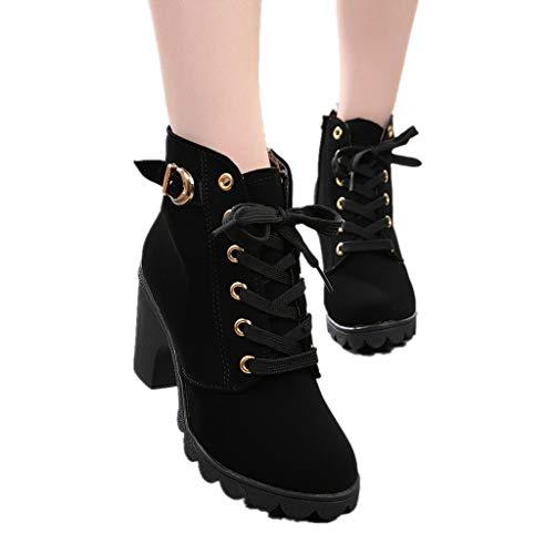 e4e0bface6858 Damen Schneestiefel SHOBDW Mode Frauen High Heel schnüren Sich Ankle Boots  Mädchen Schnalle Plateauschuhe Durable Künstliche Lederschuhe Wasserdicht  ...