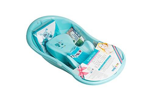 Tega Baby ® Badewanne SET für Baby eingebautem Thermometer 5-teilig - Anti-rutsch, GESCHENK für Neugeborene (Katze und Hund BLAU)