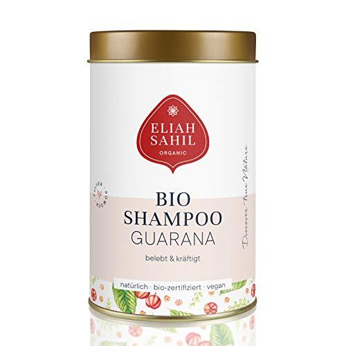GUARANA Bio Pulver Shampoo von ELIAH SAHIL I Gegen HAARAUSFALL I 100 gr. Shampoopulver ca. 30 x waschen I 100{e768f3d51796268c9151d8630881437b3dc68d55d2763df6d94e0dd7194eff16} Bio zertifizierte Naturkosmetik I Vegan und Tierversuchsfrei I Damen und Herren Shampoo