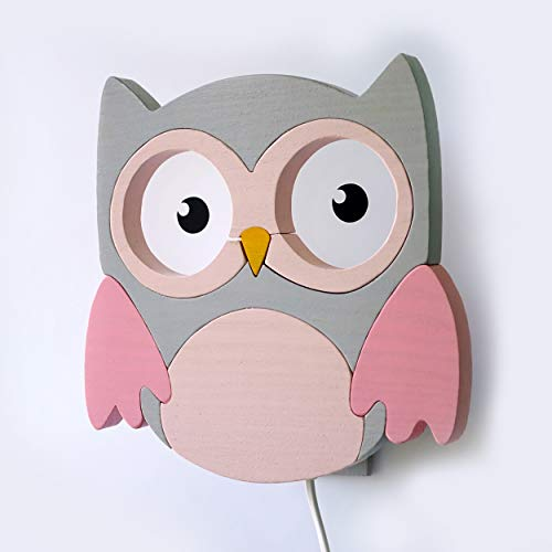 Clevere Kids Kinder Wandlampe Alle Meine Tiere Holz Handarbeit A++ (Eule grau-rosa)