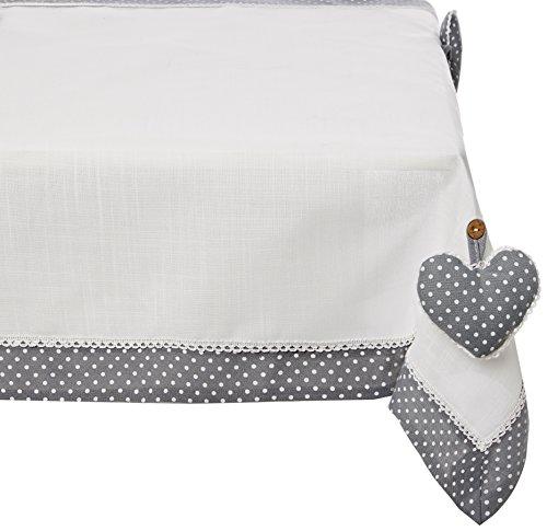 Charme et Douceur tovaglia Fanny poliestere grigio/bianco, Poliestere, grigio/bianco, 85 x 85 cm