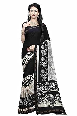 Bikaw Printed Black & Beige Colored Georgette Traditional Festival Wear Women's Saree.