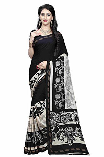Bikaw Printed Black & Beige Colored Georgette Traditional Festival Wear Women's Saree.