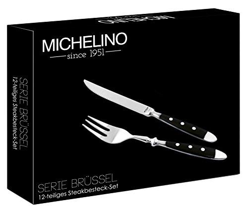 Besteck-Set 12-tlg für 6 Personen Steak-Besteck Gabel Messer - Milumi Edition