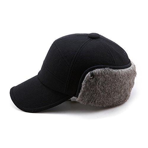 SIGGI Warme Wolle schwarze Baseballkappe Winter Ohrschutz Baseballcap Schirmmütze Für Herren 60cm , L