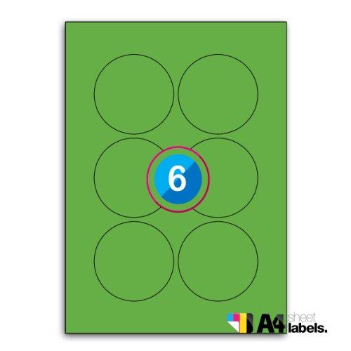 Multi Purpose Fluorescent Orange Round Labels - 24 Labels Per Sheet - 50 Sheets 40mm Diameter