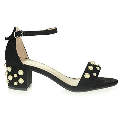 Frau Damen Abend Party Abschlussball Beiläufig Komfort Perle Perlen Mittel Block Heel Fesselriemen Sandalen Schuhe Größe Schwarz.