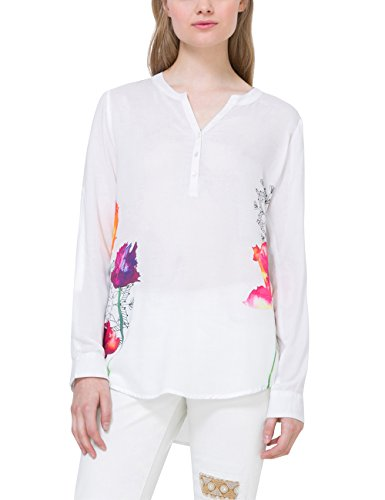 41v1vnsl6yL - Desigual Damen Bluse weiß-bunt